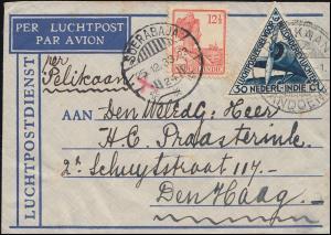 KLM-Flugpost PELIKAAN-BANDOENG 27.12.33 Brief ab SOERABAJA 25.12. nach Den Haag