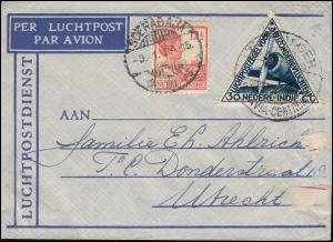 KLM-Flugpost POSTJAGER-BATAVIA 4.1.34 Brief ab SOERABAJA 3.1.34 nach Utrecht