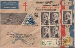 KLM-Flugpost Batavia-Melbourne-Batavia 20.10.34 / 31.10. Emma-R-Bf. Tuberkulose