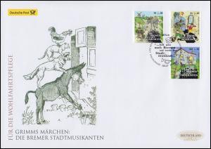 3282-3284 Die Bremer Stadtmusikanten, Satz auf Schmuck-FDC Deutschland exklusiv