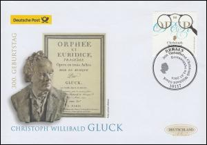 3092 Komponist Christoph Willibald Gluck, Schmuck-FDC Deutschland exklusiv