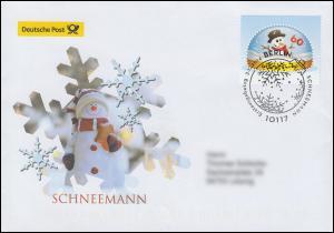 3111 Schneemann in Schneekugel, nassklebend, Schmuck-FDC Deutschland exklusiv
