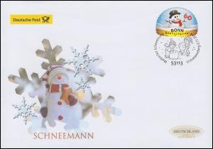 3113 Schneemann in Schneekugel, selbstklebend, Schmuck-FDC Deutschland exklusiv