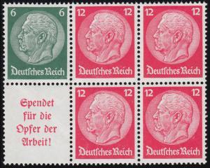 S 125 Hindenburg-Zusammendruck, ungefaltet im Sechserblock, postfrisch **