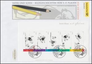 Block 63 Vater-und-Sohn-Geschichten, Block auf Schmuck-FDC Deutschland exklusiv