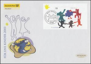 Block 64 Für uns Kinder: Tiere tanzen, Schmuck-FDC Deutschland exklusiv