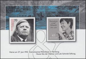 Block 83 Helmut und Loki Schmidt, ** postfrisch