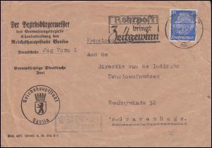 Firmenlochung BC auf Hindenburg 25 Pf als EF Brief BERLIN 18.4.40 nach Holland