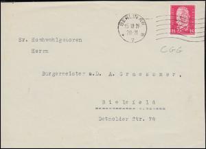 Firmenlochung CGG auf Hindenburg 15 Pf auf Briefvorderseite BERLIN 15.10.29