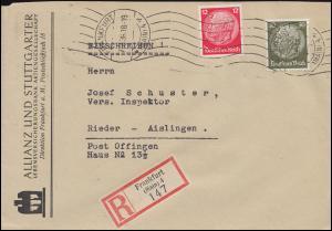 Firmenlochung RA auf Hindenburg 12+30 Pf MiF auf R-Brief  FRANKFURT/MAIN 7.2.36