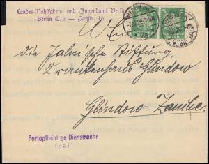Firmenlochung MB auf Reichsadler 5 Pf im Paar als MeF auf Brief BERLIN 3.12.26