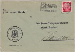 Firmenlochung POL-Lochung B 14 auf 519 Hindenburg 12 Pf EF Brief KASSEL 30.11.36