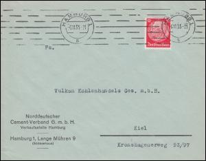 Firmenlochung NCV auf Hindenburg 12 Pf als EF Brief HAMBURG 6.11.35 nach Kiel