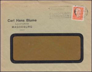 Firmenlochung CHB auf Hindenburg 12 Pf Fensterbrief MAGDEBURG 9.2.32