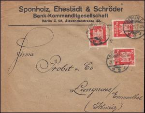 Firmenlochung SES auf Reichsadler 20 Pf als MeF auf Auslandsbrief BERLIN 29.7.24