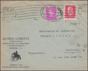 Bahnpost Firmenlochung L.A. Hindenburg + 435 ohne Perfin MiF Bf. LEIPZIG 7.1.31