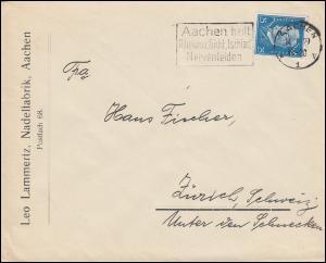 Firmenlochung Leo L auf Hindenburg 25 PF als EF auf Auslandsbrief AACHEN 14.1.29