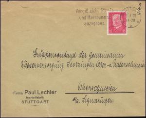 Firmenlochung PL auf Hindenburg 15 PF als EF auf Brief STUTTGART 9.4.30