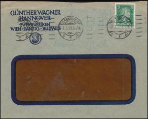 Firmenlochung GW auf Schiller 5 PF als EF auf Ortsbrief HANNOVER 7.3.27