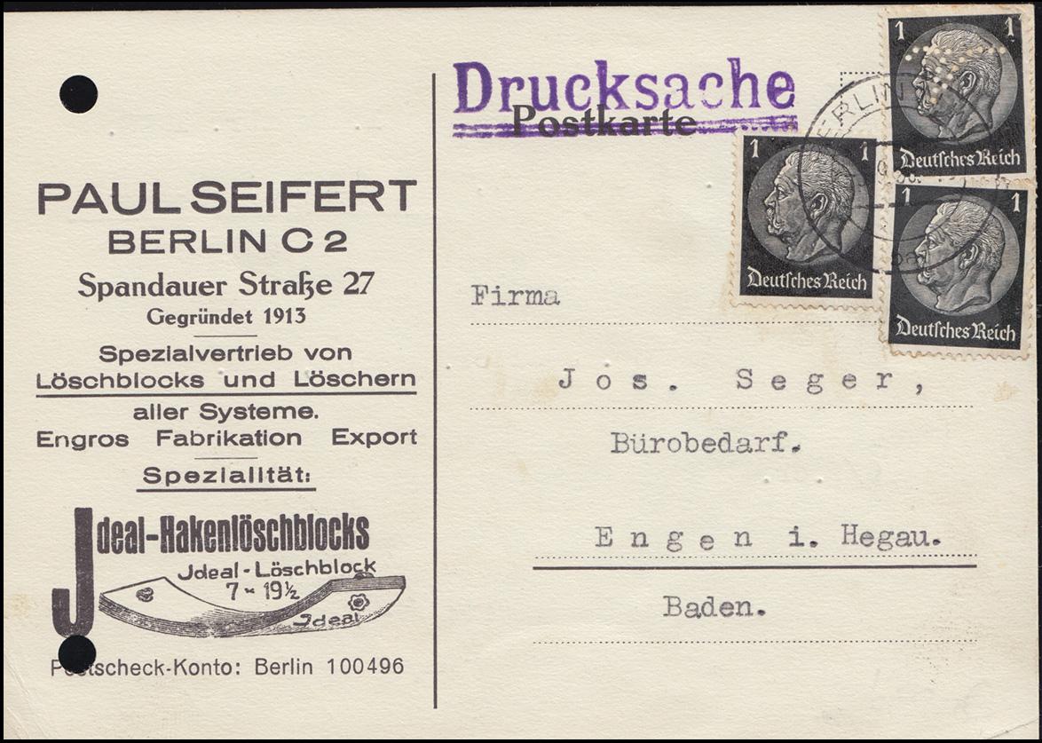 Firmenlochung Symbol V auf Hindenburg 1 Pf (1mal), MeF Drucksache BERLIN 3.9.38 0