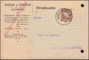 Firmenlochung B&F auf Reichsadler 3 Pf. als EF auf Drucksache AUGSBURG 9.9.24