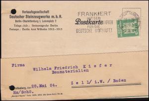 Firmenlochung VDS auf Reichsadler 5 Pf. als EF Postkarte CHARLOTTENBURG 28.5.24