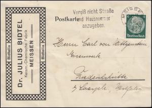 Firmenlochung Dr B auf Hindenburg 6 Pf EF auf Fern-Postkarte MEISSEN 9.10.33