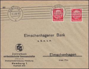 Firmenlochung H2 auf Hindenburg-Marken 12 Pf MeF auf Brief HAMBURG 5.3.36