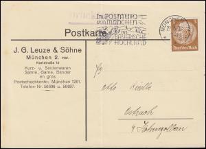 Firmenlochung JGL auf Hindenburg 3 Pf. als EF auf Drucksache MÜNCHEN 22.6.33