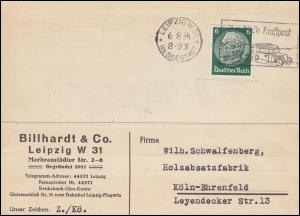 Firmenlochung B auf Hindenburg 6 Pf als EF auf Fern-Postkarte LEIPZIG 6.8.34