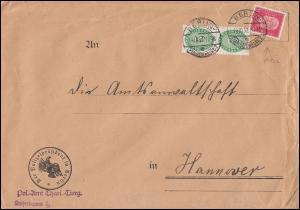 POL-Lochung B 13 auf 414 mit Dienstmarken Brief BERLIN-CHARLOTTENBURG 14.10.32