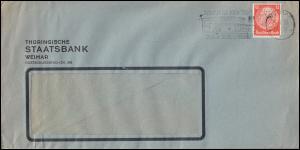 Firmenlochung TSt auf Hindenburg 12 Pf. EF auf Brief WEIMAR 5.4.33