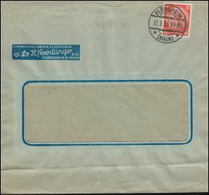 Firmenlochung H.N. auf Hindenburg 12 Pf als EF auf Brief FLÖRSHEIM/MAIN 12.5.33