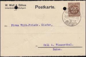 Firmenlochung W&S auf Infla 400 Mark als EF auf Postkarte UNTERTÜRKHEIM 9.9.23