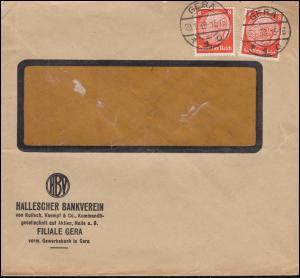Firmenlochung B auf Hindenburg 8 Pf. MeF auf Orts-Brief GERA 29.1.38
