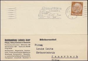 Firmenlochung L.A. auf Hindenburg 3 Pf. EF auf Bücherzettel DONAUWÖRTH 15.6.34