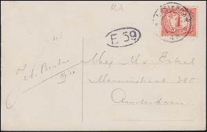 Firmenlochung/Perfin M.A. kopfstehend auf 50 Ziffer auf AK, AMSTERDAM 1911