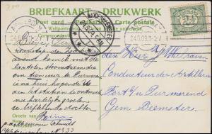 Firmenlochung/Perfin K auf 52 Ziffer auf AK Leidscheplein AMSTERDAM 24.6.1909