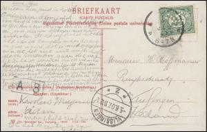 Firmenlochung/Perfin K auf 52 Ziffer auf AK Nieuwmarkt met Waag AMSTERDAM 5.6.07