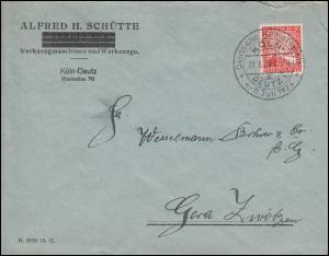 Firmenlochung Rheinland auf Brief Alfred H. Schütte Werkzeuge Köln-Deutz 31.5.26