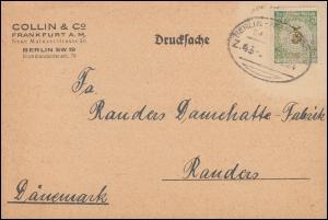 Bahnpost Firmenlochung C&C auf 339 geklebt/defekt EF Drucksache FRANKFURT 1924