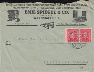 Firmenlochung ES normal und spiegelverkehrt im Paar Brief VARNSDORF / WARNSDORF