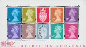 Kleinbogen zur STAMP SHOW 2000 in London Elisabeth II, Typ Machin, postfrisch **
