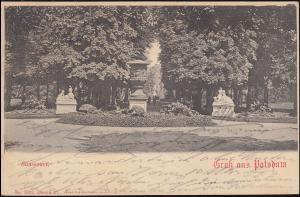 AK Gruss aus Potsdam Sanssouci, WILDPARK 29.9.1902 nach DORTMUND 29.9.02