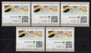 10 Versuchs-ATM 45-260 Cent, kpl. Tastensatz Stanztype II, MIT QUITTUNG **