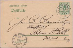 Bayern Postkarte P 60 von AIDENBACH 16.3.1903 nach HALL (SCHWÄBISCH) 17.5.03