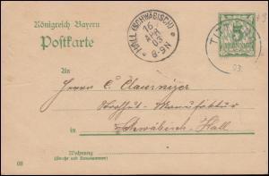 Bayern Postkarte P 60 von TITTLING 16.4.1903 nach HALL (SCHWÄBISCH) 16.4.03