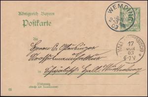 Bayern Postkarte P 60 von WEMDING 16.6.1903 nach HALL (SCHWÄBISCH) 17.6.03