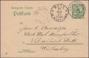Bayern Postkarte P 60 von WALLERSTEIN 30.5.1903 nach HALL (SCHWÄBISCH) 31.5.03