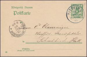Bayern Postkarte P 66/01 von TITTLING 18.5.1903 nach HALL (SCHWÄBISCH) 19.5.03